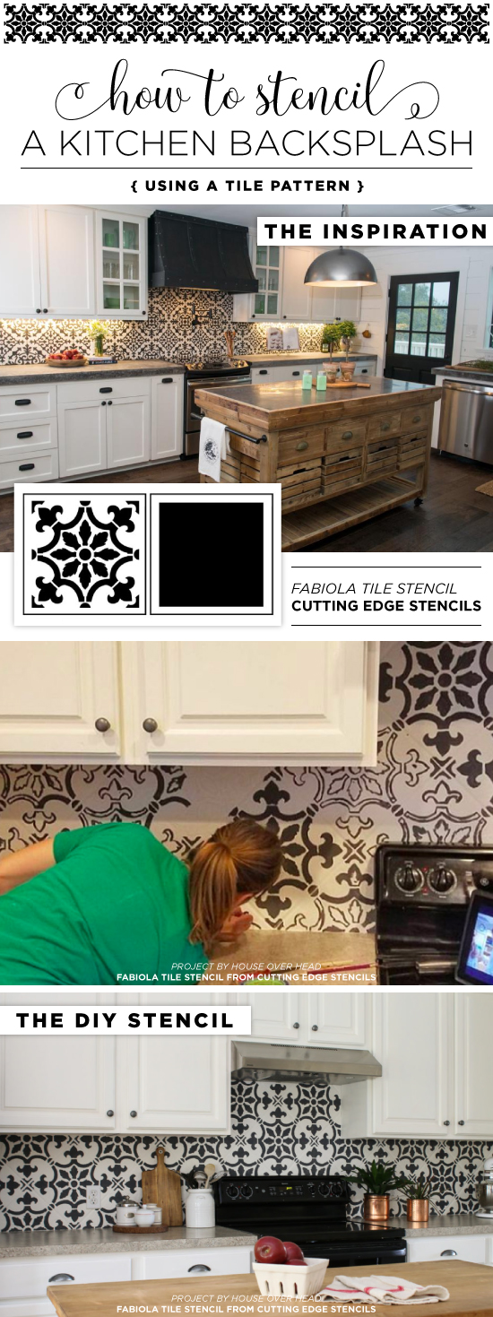How to stencil a kitchen backsplash using a tile pattern stencil cutting edge stencils shares a diy kitchen makeover with a stenciled backsplash using the fabiola tile dailygadgetfo Choice Image