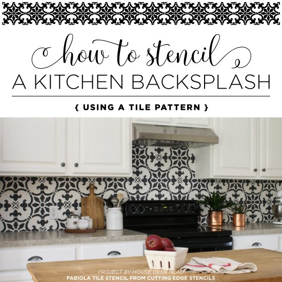 Kitchen Backsplash Edge how to stencil a kitchen backsplash using a tile pattern « stencil