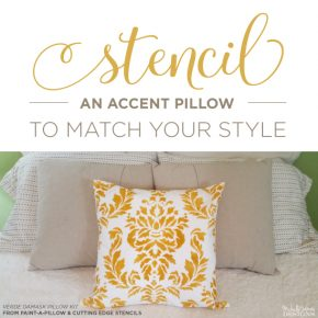Cutting Edge Stencils shares how to stencil DIY decorative pillows using the Verde Damask Accent Pillow stencil kit . http://www.cuttingedgestencils.com/verde-damask-stencil-paint-a-pillow-kit.html