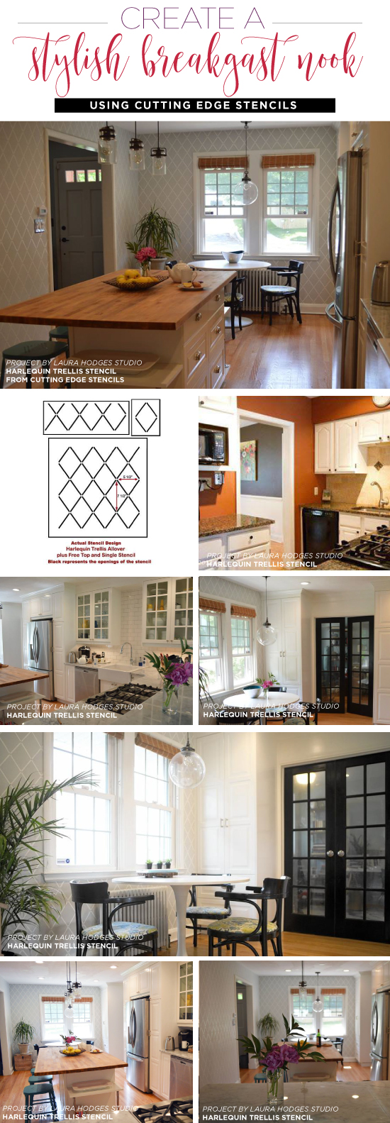 Cutting Edge Stencils shares how to add personal style and fun decor to your kitchen and adjoining eating area using a stencil pattern. http://www.cuttingedgestencils.com/trellis-stencil-harlequin.html