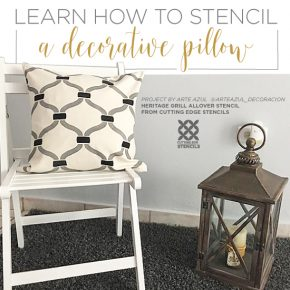 Cutting Edge Stencils shares how to stencil a DIY decorative pillow using the Heritage Grill Accent Pillow Stencil kit. http://www.cuttingedgestencils.com/heritage-grill-stencils-paint-a-pillow-kit.html