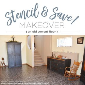 Stencil and Save! Makeover An Old Cement Floor