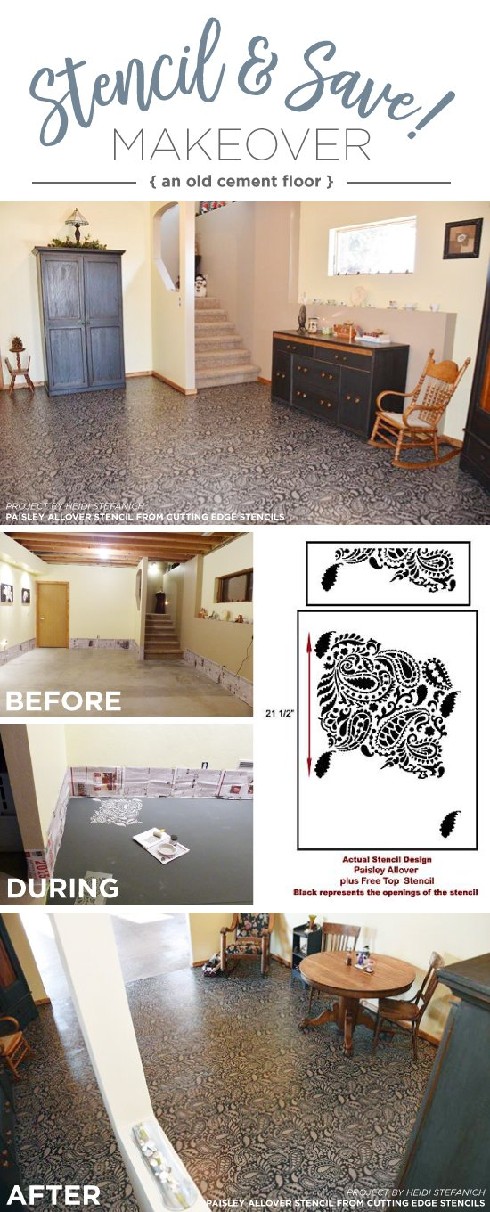 Cutting Edge Stencils shares a cement floor makeover using the Paisley Allover Stencil. http://www.cuttingedgestencils.com/paisley-allover-stencil.html
