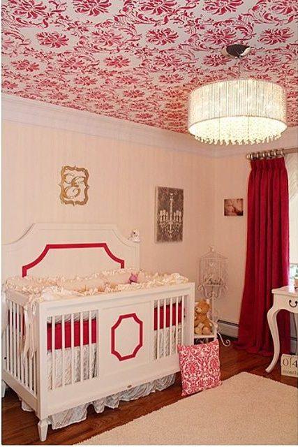 A DIY pink and white stenciled nursery ceiling using the Gabrielle Damask Stencil from Cutting Edge Stencils. http://www.cuttingedgestencils.com/damask-stencil-3.html