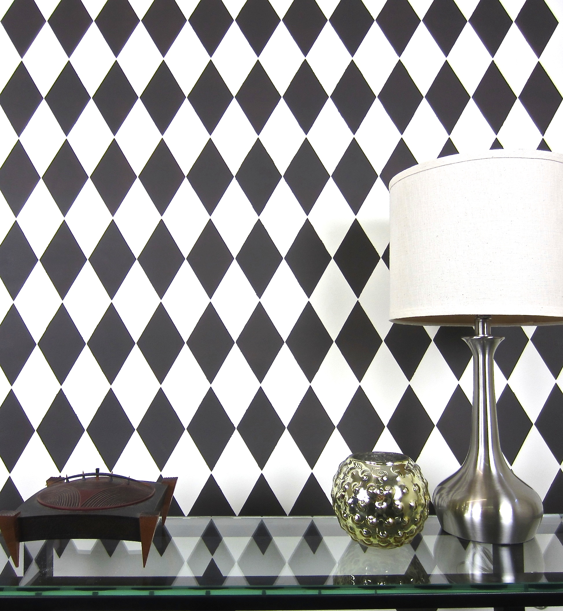 How to stencil an accent wall using the harlequin pattern learn how to stencil the harlequin allover pattern a geometric inspired wall stencil from amipublicfo Image collections