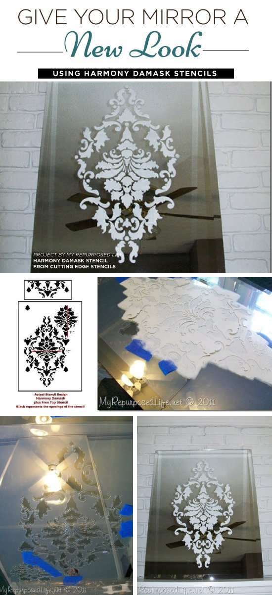 Cutting Edge Stencils shares how to stencil a decorative mirror using the Harmony Damask Stencil. http://www.cuttingedgestencils.com/acanthus-damask-stencil.html