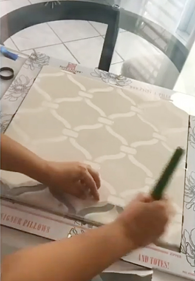 Learn how to stencil a DIY decorative pillow using the Heritage Grill Accent Pillow Stencil kit from Cutting Edge Stencils. http://www.cuttingedgestencils.com/heritage-grill-stencils-paint-a-pillow-kit.html