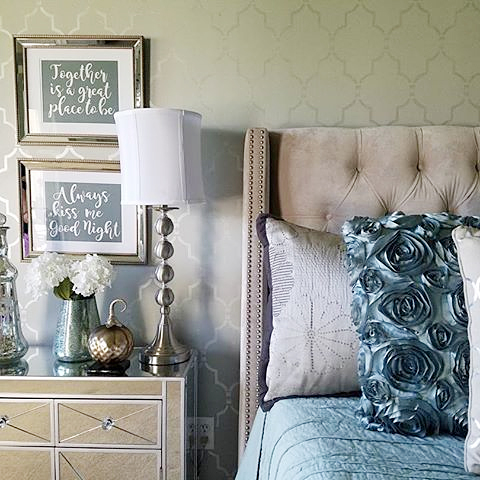 a diy stenciled bedroom accent wall in a shimmering metallic paint using the marrakech trellis allover - Bedroom Stencil Ideas