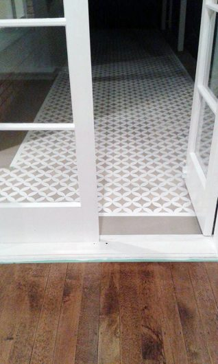 A DIY stenciled floor using the Nagoya Allover, a geometric pattern, from Cutting Edge Stencils. http://www.cuttingedgestencils.com/japanese-stencil-nagoya.html