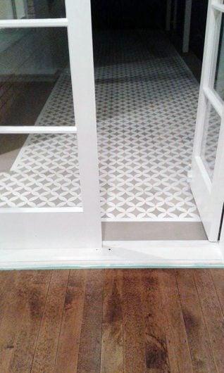 A DIY stenciled floor using the Nagoya Allover, a geometric pattern, from Cutting Edge Stencils. http://www.cuttingedgestencils.com/japanese-stencil-nagoya.html
