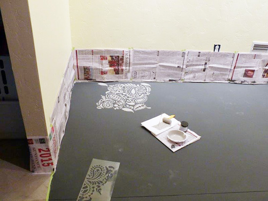 Learn how to stencil a concrete basement floor using the Paisley Allover Stencil from Cutting Edge Stencils. http://www.cuttingedgestencils.com/paisley-allover-stencil.html