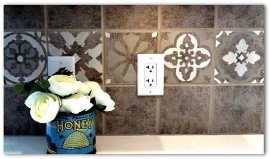 A DIY stenciled kitchen backsplash using the Patchwork Tiles Stencils Patterns from Cutting Edge Stencils. http://www.cuttingedgestencils.com/patchwork-tile-pattern-stencil-wall-tiles.html