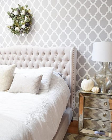 A Gray And White Stenciled Accent Wall In Master Bedroom Using The Rabat Allover Stencil