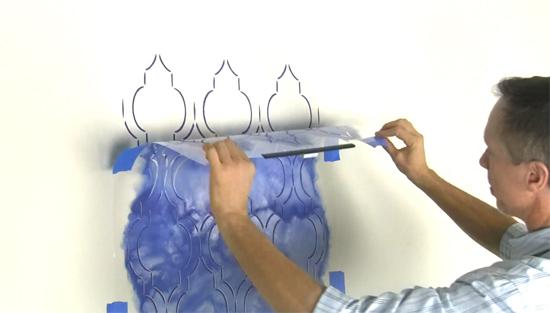 Learn how to stencil a DIY accent wall using the Sophia Trellis Allover wall pattern from Cutting Edge Stencils. http://www.cuttingedgestencils.com/sophia-trellis-stencil-geometric-wall-pattern.html