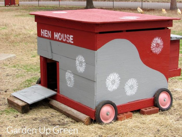 A DIY stenciled chicken coop painted with the Starburst Zinnia Flower Stencil from Cutting Edge Stencils. http://www.cuttingedgestencils.com/flower-stencils-starburst-zinnia-wall-art-stencil-floral.html