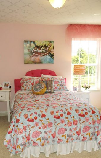 A metallic silver stenciled ceiling in a girl's bedroom using the Sweet Dreams Allover Stencil pattern from Cutting Edge Stencils. http://www.cuttingedgestencils.com/stencil-dreams-nursery-stencil-design.html