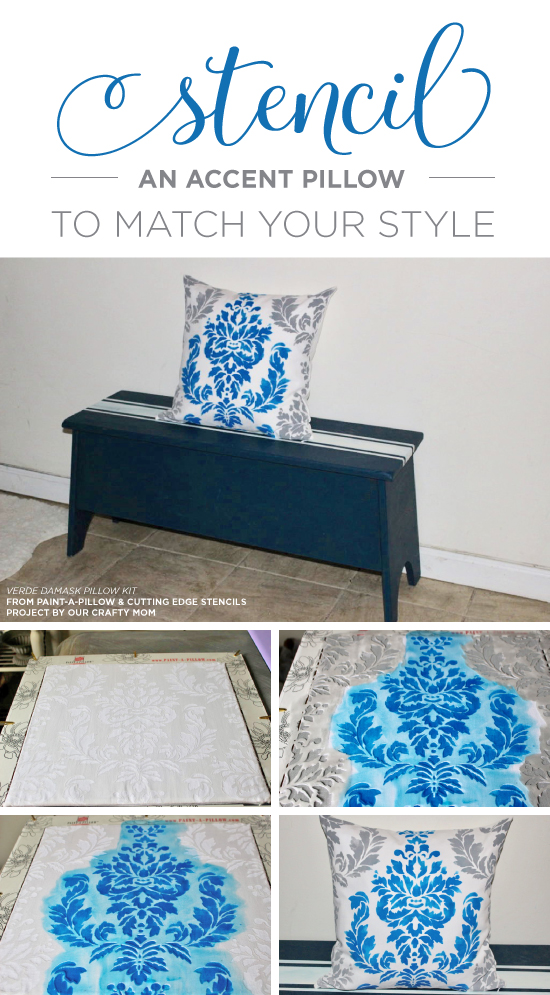 A blue and gray DIY stenciled decorative pillow that was hand crafted using the Verde Damask Accent Pillow Stencil Kit from Cutting Edge Stencils. http://www.cuttingedgestencils.com/verde-damask-stencil-paint-a-pillow-kit.html