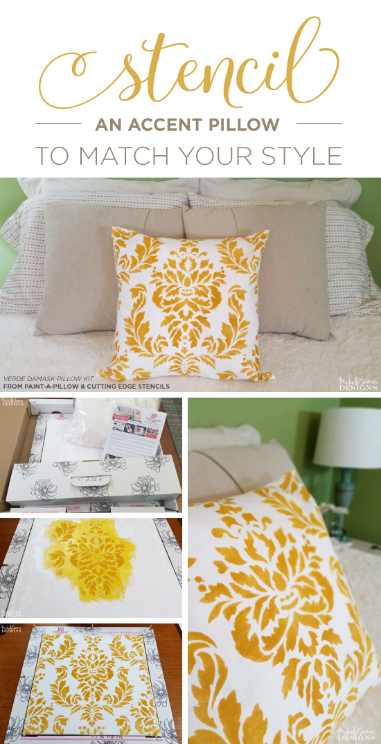 A yellow and white DIY stenciled decorative pillow that was hand crafted using the Verde Damask Accent Pillow Stencil Kit from Cutting Edge Stencils. http://www.cuttingedgestencils.com/verde-damask-stencil-paint-a-pillow-kit.html