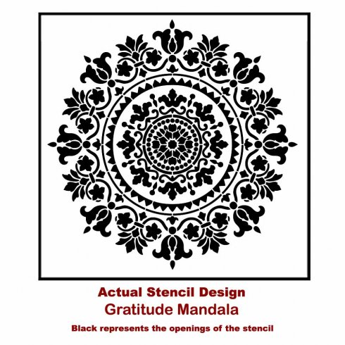 The Gratitude Mandala Stencil from Cutting Edge Stencils. http://www.cuttingedgestencils.com/gratitude-mandala-stencil-yoga-designs.html