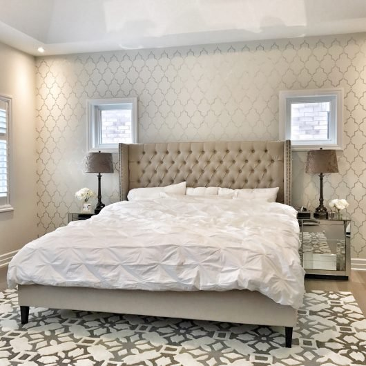 A DIY stenciled bedroom accent wall using the Marrakech Trellis Allover Stencil from Cutting Edge Stencils. http://www.cuttingedgestencils.com/moroccan-stencil-marrakech.html