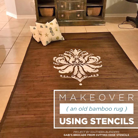 makeover an old bamboo rug using stencils Bamboo Rug