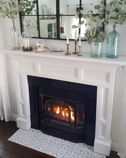 A DIY stenciled fireplace hearth floor using the Augusta Tile Stencil from Cutting Edge Stencils. http://www.cuttingedgestencils.com/augusta-tile-stencil-design-patchwork-tiles-stencils.html