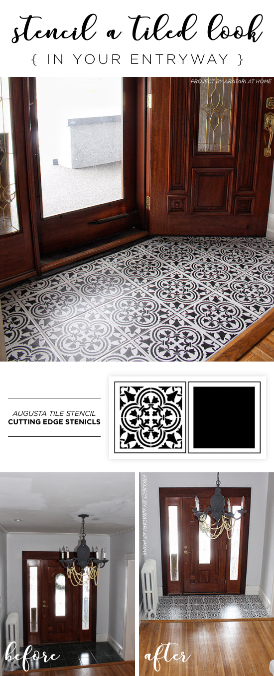 Cutting Edge Stencils shares a DIY stenciled entryway floor using the Augusta Tile Stencil. http://www.cuttingedgestencils.com/augusta-tile-stencil-design-patchwork-tiles-stencils.html