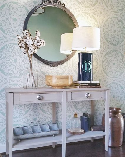 A DIY stenciled accent wall in a foyer using the Charlotte Allover Stencil from Cuttting Edge Stencils. http://www.cuttingedgestencils.com/charlotte-allover-stencil-pattern.html