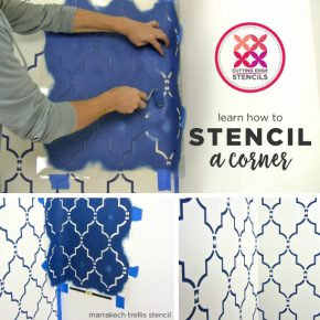 Learn how to stencil a corner to achieve a wallpaper look using the Marrakech Trellis Allover stencil, a Moroccan wall pattern, from Cutting Edge Stencils. http://www.cuttingedgestencils.com/moroccan-stencil-marrakech.html