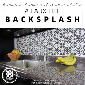 Cutting Edge Stencils shares a DIY stenciled faux tile backsplash using the Fabiola Tile pattern. http://www.cuttingedgestencils.com/fabiola-tile-stencil-spanish-portugese-tiles-stencils.html