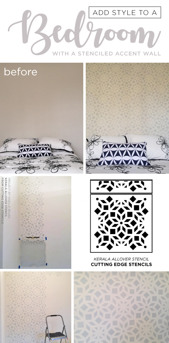 Cutting Edge Stencils a gray and white stenciled bedroom accent wall using the Kerala Allover Stencil, an Indian inspired wallpaper pattern. http://www.cuttingedgestencils.com/kerala-indian-stencil-geometric-pattern-stencils.html