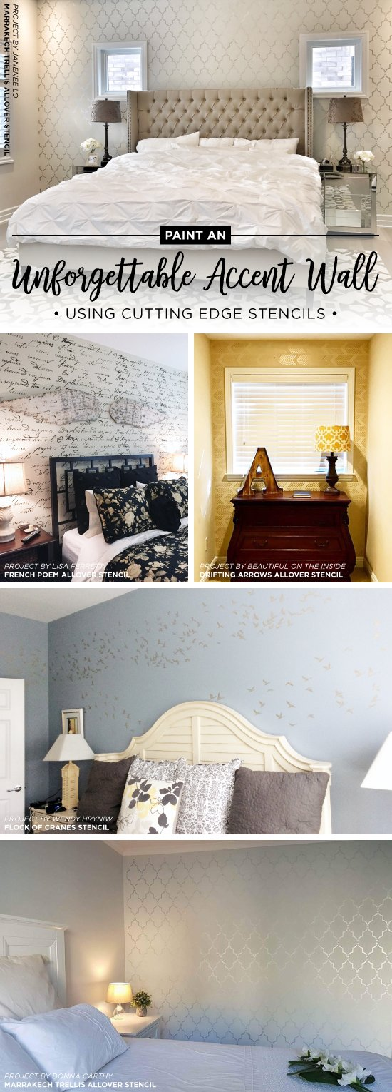 Cutting Edge Stencils shares unforgettable accent wall ideas using stencil patterns. http://www.cuttingedgestencils.com/wall-stencils-stencil-designs.html