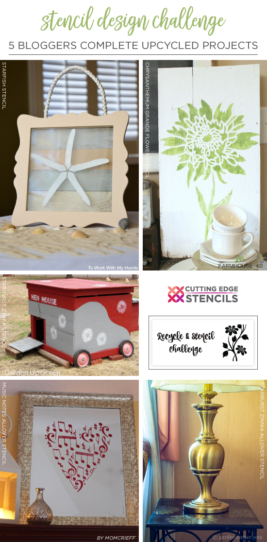 Cutting Edge Stencils shares DIY home decorating projects using upcycled items and stencil patterns. http://www.cuttingedgestencils.com/wall-stencils-stencil-designs.html