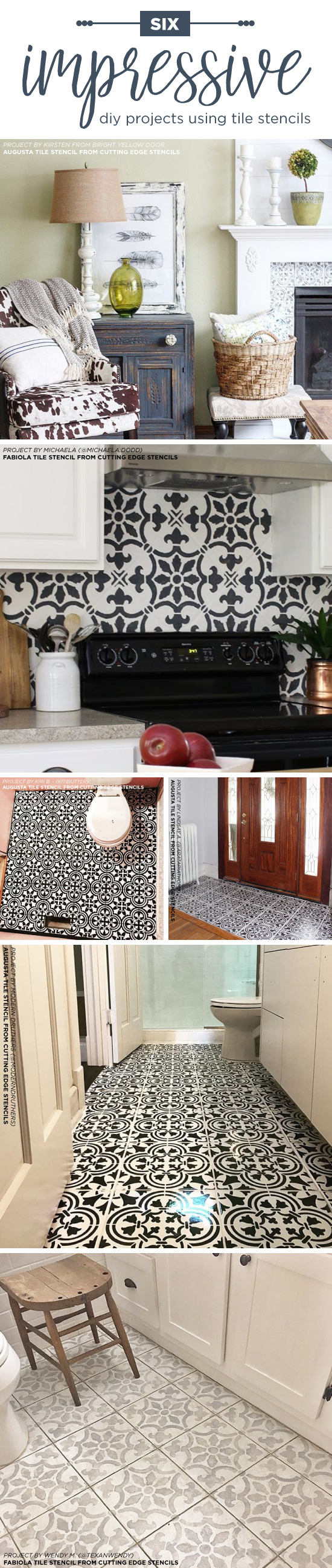Cutting Edge Stencils shares DIY home decorating ideas like floors and backsplashes using tile stencil patterns.  http://www.cuttingedgestencils.com/wall-stencils-stencil-designs.html