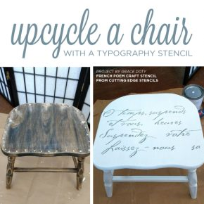 Cutting Edge Stencils shares how to stencil a chair using the French Poem Craft Stencil, a typography pattern. http://www.cuttingedgestencils.com/french-poem-diy-craft-stencil-design.html