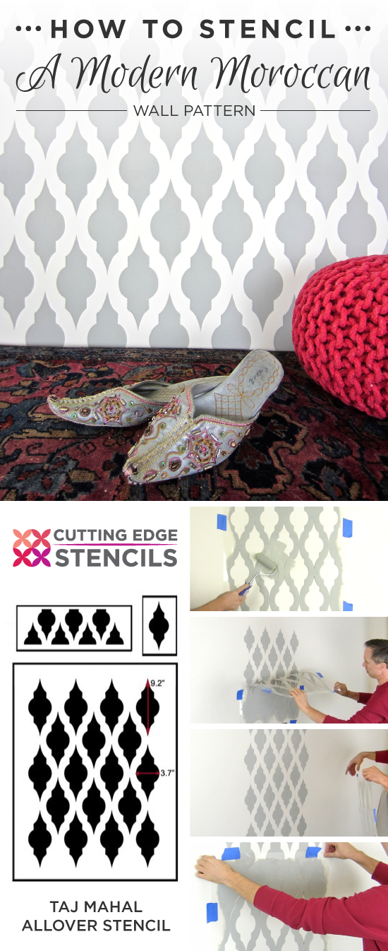 Cutting Edge Stencils shares a DIY gray and white Moroccan stenciled accent wall using the Taj Mahal Allover Stencil. http://www.cuttingedgestencils.com/taj-mahal-wall-pattern-stencil.html