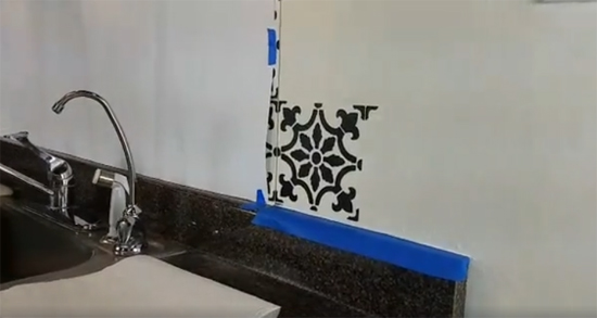Learn how to stencil a faux tile backsplash using the Fabiola Tile Stencil from Cutting Edge Stencils. http://www.cuttingedgestencils.com/fabiola-tile-stencil-spanish-portugese-tiles-stencils.html