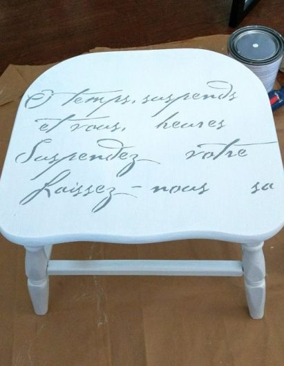Learn how to stencil a chair using the French Poem Craft Stencil, a typography pattern, from Cutting Edge Stencils. http://www.cuttingedgestencils.com/french-poem-diy-craft-stencil-design.html