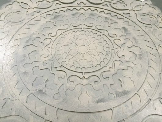 Learn how to stencil a side table using the Gratitude Mandala Stencil from Cutting Edge Stencils. http://www.cuttingedgestencils.com/gratitude-mandala-stencil-yoga-designs.html
