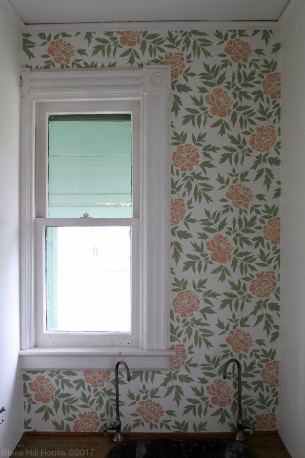 A DIY floral stenciled butler's pantry accent wall using the Japanese Peonies Allover Stencil from Cutting Edge Stencils. http://www.cuttingedgestencils.com/japanese-peonies-floral-stencil-pattern.html