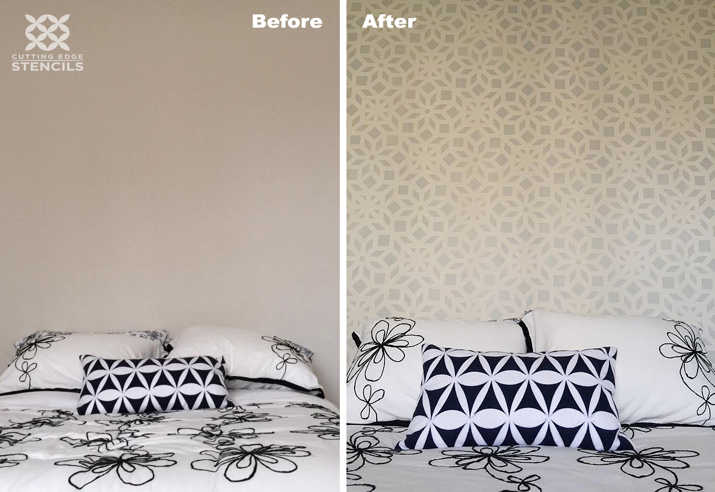A before and after of a stenciled bedroom accent wall using the Kerala Allover Stencil, an Indian inspired wallpaper pattern, from Cutting Edge Stencils. http://www.cuttingedgestencils.com/kerala-indian-stencil-geometric-pattern-stencils.html