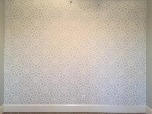 Learn how to stencil an accent wall using the Kerala Allover Stencil, an Indian inspired wallpaper pattern, from Cutting Edge Stencils. http://www.cuttingedgestencils.com/kerala-indian-stencil-geometric-pattern-stencils.html