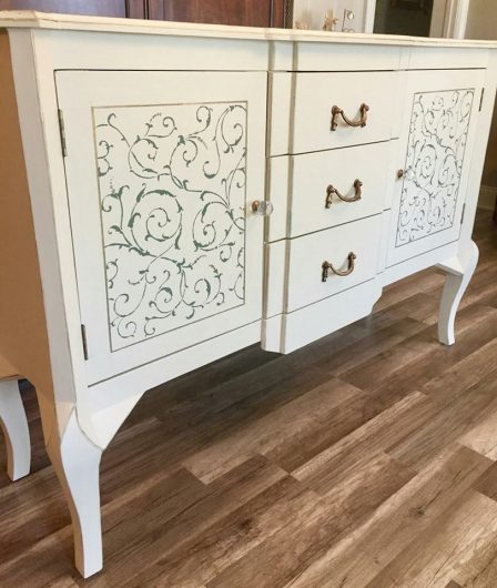 A DIY stenciled dresser using the Lily Scroll Furniture Stencil from Cutting Edge Stencils. http://www.cuttingedgestencils.com/scroll-craft-stencil.html