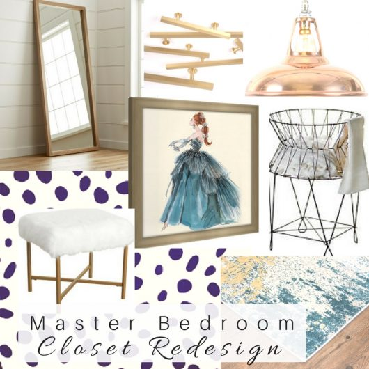 A DIY mood board for a master bedroom closet that contained the Dalmatian Spots Allover Stencil from Cutting Edge Stencils. http://www.cuttingedgestencils.com/dalmatian-spots-stencil-dots-wallpaper-pattern.html