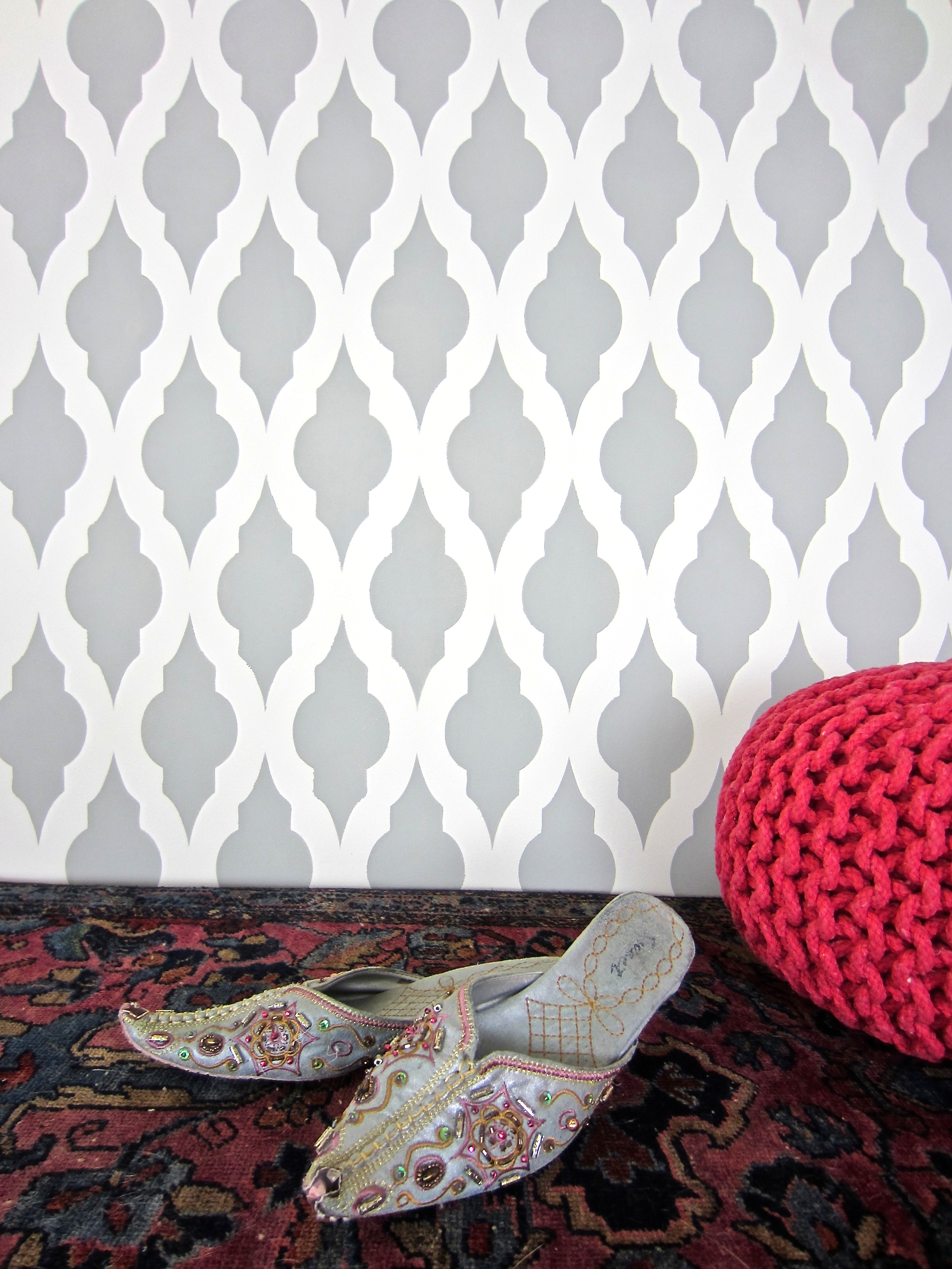 How to stencil a modern moroccan wall pattern stencil stories a diy gray and white moroccan stenciled accent wall using the taj mahal allover stencil from amipublicfo Image collections