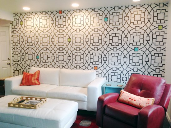 A DIY Stenciled Living Room Accent Wall Using The Tea House Trellis Allover  Stencil From Cutting