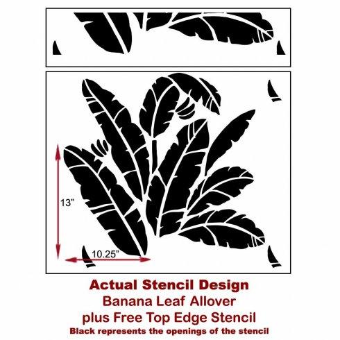 The Banana Leaf Allover Stencil from Cutting Edge Stencils. http://www.cuttingedgestencils.com/banana-leaf-stencil-tropical-wallpaper-palm-leaves-print.html
