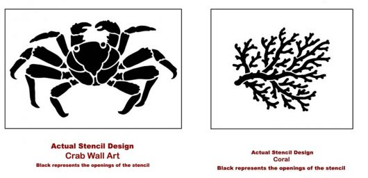 The Crab and Coral Wall Art Stencils from Cutting Edge Stencils. http://www.cuttingedgestencils.com/beach-decor-stencils-designs-nautical.html