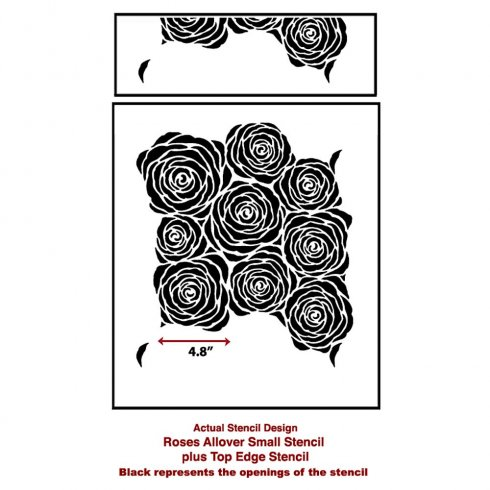 The Roses Allover Stencil from Cutting Edge Stencils. http://www.cuttingedgestencils.com/roses-stencil-pattern-rose-design.html