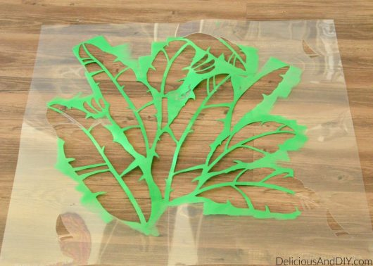 Learn how to stencil a side table using the Banana Leaf Allover Stencil from Cutting Edge Stencils. http://www.cuttingedgestencils.com/banana-leaf-stencil-tropical-wallpaper-palm-leaves-print.html